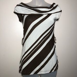 Small HEART SOUL Brown Striped Blouse Top Shirt